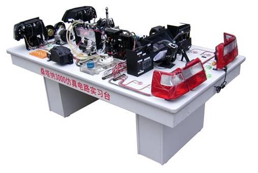 二、产品功能: 可进行桑塔纳3000型电控汽油喷射系统的实验教学,实习台按照汽车标准电器线路用实物安装而成。 1、灯光照明系由各实物开关和模拟开关等控制,可设置线路故障。 2、起动充电系可用万用表检测各线路接头电压及电流,可设置线路故障。 3、发动机点火系可直观火花塞点火情况,并可设置相应故障。 4、发动机燃油供给系配有透明有机玻璃油箱与透明回油管路,可直观各喷油器喷油过程,节气门对喷油量的作用,喷油泵断路故障等。 5、仪表信号通过各传感器采用模拟信号,并可设置相应故障。 6、教师可对实验台上任何一部件设